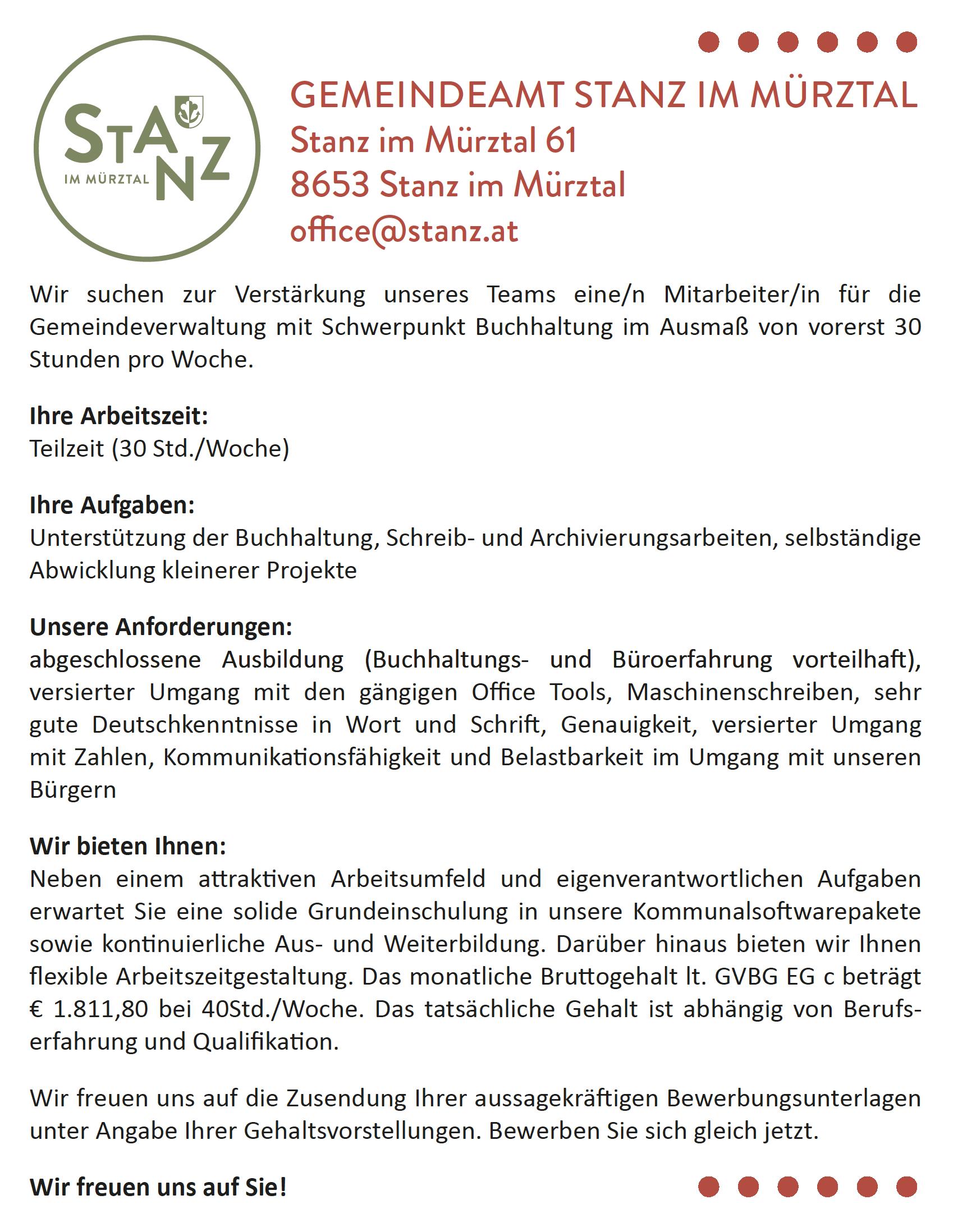 08.03.2018 – Stellenausschreibung Gemeindeamt Stanz
